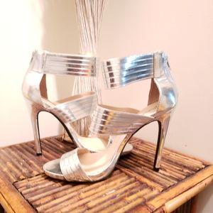 Qupid Silver Strappy Stilettos